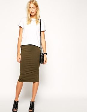 ASOS Midi Pencil Skirt in Jersey *slit is too high, but cute outfit idea*