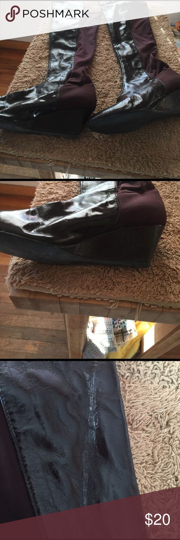 Wedge Boots Brown knee high wedge boots from Victoria Secret!  No zipper, just pull on!  They were repaired once, can barely tell.  See picture. Victoria's Secret Shoes Over the Knee Boots