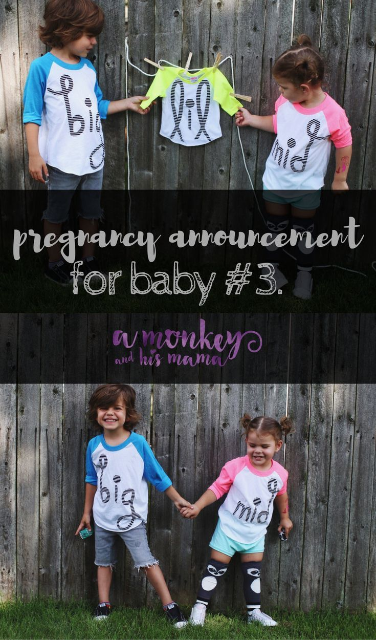 pregnancy announcement for baby number 3 \\ a monkey and his mama \\ shirts by @SwankyShank