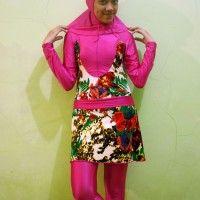Baju Renang Muslimah Dewasa Pink Fanta Motif Bunga beli di ellima.web.id