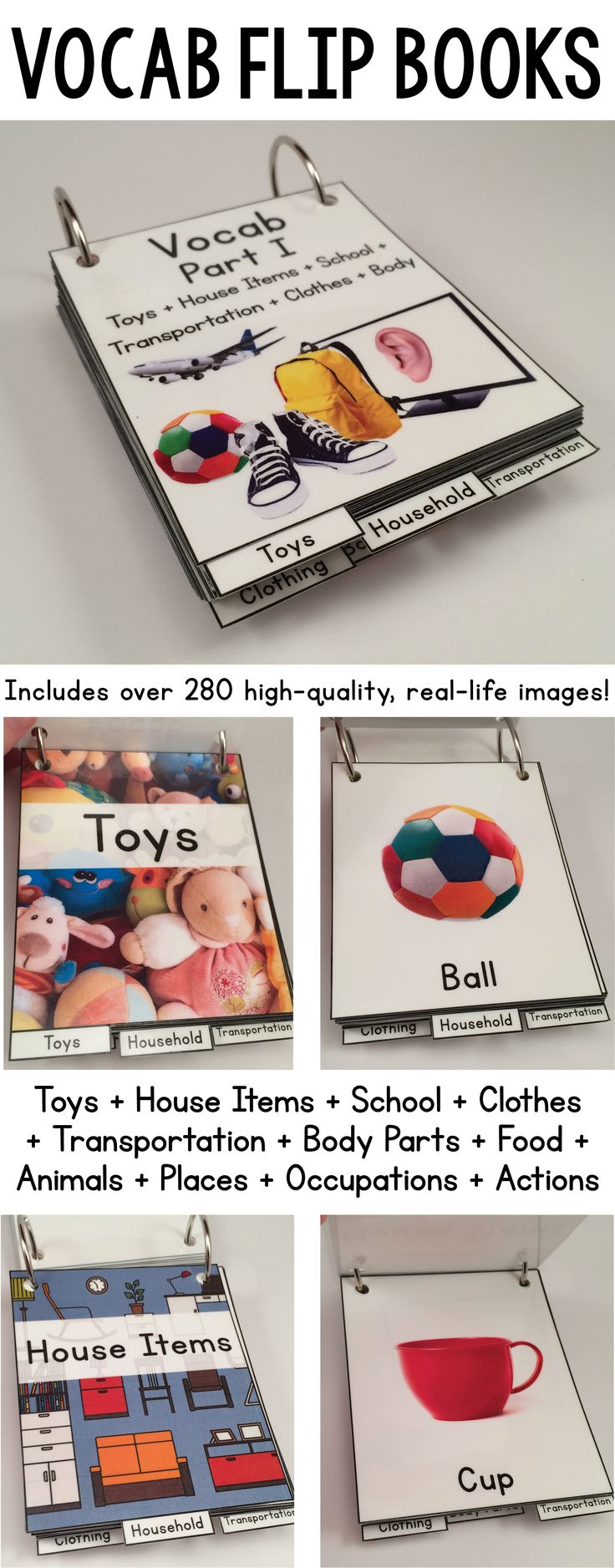 Vocab Flip Books! Over 280 Real-Life Images! House, Animals, Food + much more