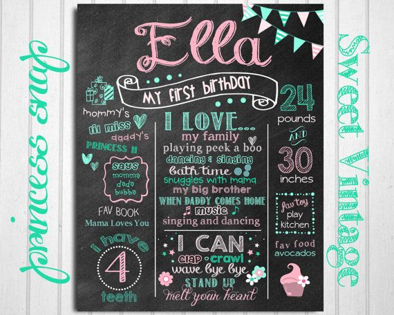First Birthday Chalkboard - Sweet Vintage Teal and Pink- 100% CUSTOMIZED Poster Sign Birthday Printable File