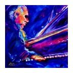 Blue Jazz Sax Musician Playing Saxophone Portrait Wall Art Painting - Eclectic - Wall Decals - by StealStreet