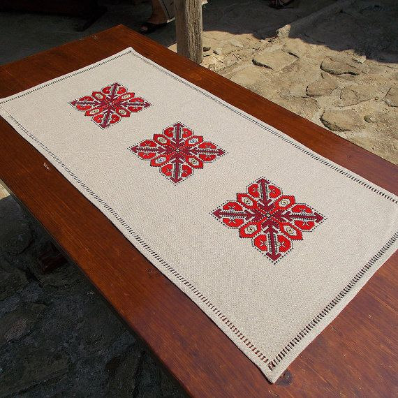 Hand embroidered table runner, hand embroidered table cloth, cross-stitch table runner, linen table runner, Bulgarian embroidery