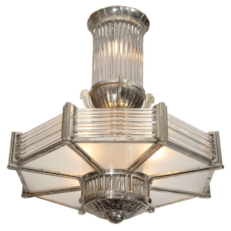 French Art Deco Silvered Bronze and Glass Octagonal Pendant | From a unique collection of antique and modern chandeliers and pendants  at https://www.1stdibs.com/furniture/lighting/chandeliers-pendant-lights/