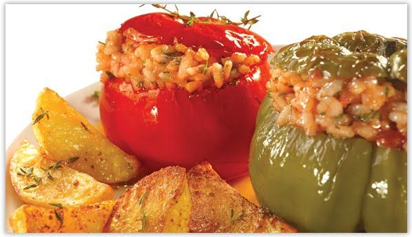 Gemista, Greek Stuffed Bell Peppers and Tomatoes - My Yiayia used to make these and they are SO yummy!  My hubby's favorite also!