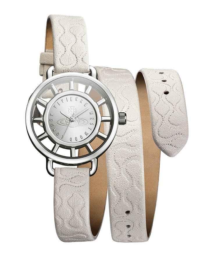 Tate Wrap cream embossed leather watch - Vivienne Westwood
