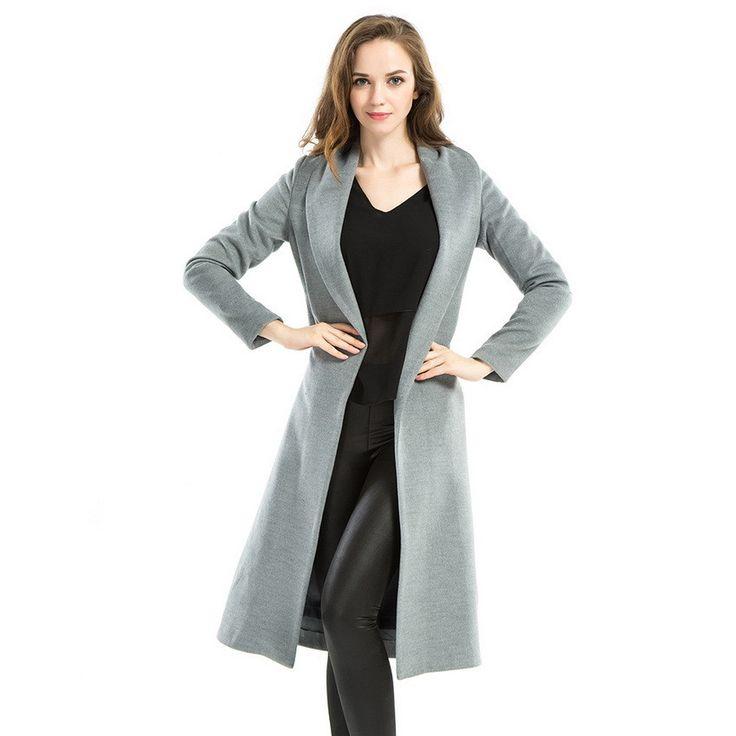 Stylish Winter Coat Women 2015 New Long Sleeve Trench Coat With Belt Elegant Windbreak Sashes Outerwear Grey Long Manteau Femme