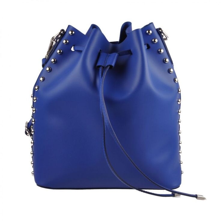 Blue Emilio Masi women leather shoulder bucket bag Handmade in Italy