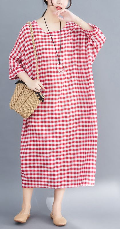 64519792cf4 French red white plaid cotton linen plus size Photography Maxi summer  Dresses
