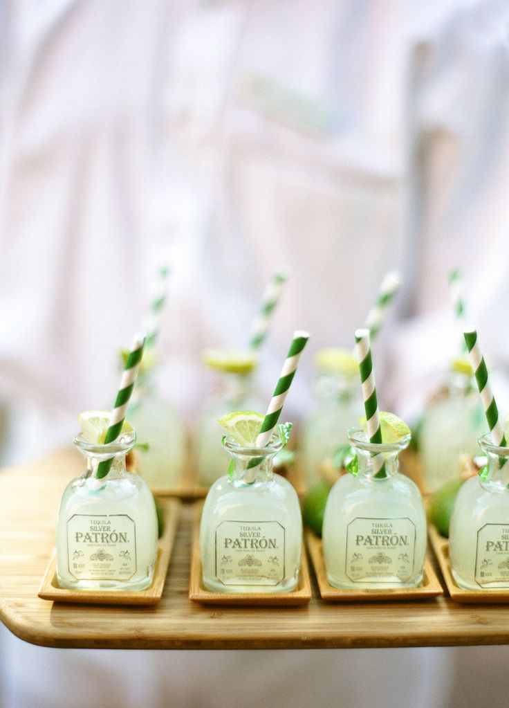 Patron Margaritas  Mini patron bottles wedding dinner  party outdoor Hotel Jerome Aspen Colorado Tequila Alcohol Salt and Lime