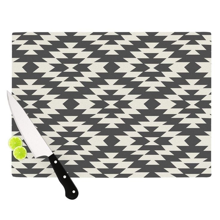 "Kess InHouse Amanda Lane ""Southwestern Black Cream"" Tribal Geometric Cutting Board ("