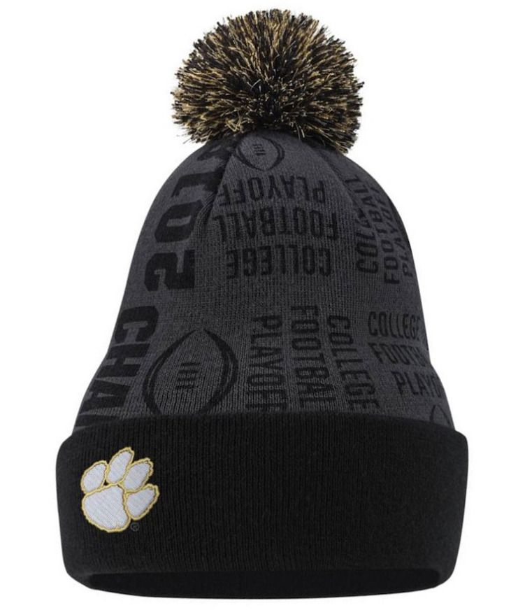 cheaper 46ccc 31625 Clemson Tigers Nike Beanie Pom Knit Hat National Champions College Football   Nike  ClemsonTigers