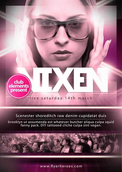 Vixen Club Free A3 Poster and Flyer Template - http://ffflyer.com/vixen-club-free-a3-poster-and-flyer-template/ Vixen is a glossy, pink and adaptable Free A3 Poster Template. Along with posting the freebie, we've also recorded our process so you can see how it was made!  #Dj, #Electro, #Flyer, #Girls, #Love, #Music, #Nightclub, #Party