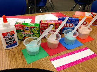 Scratch-n-sniff cards made from jello and glue. This could be used for the Nose/Smell day during the 5 senses unit. A.C.