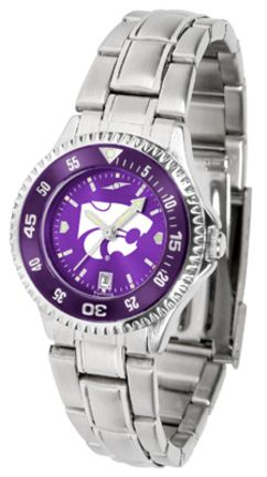 Kansas State Wildcats Competitor AnoChrome Ladies Watch with Steel Band and Colored Bezel