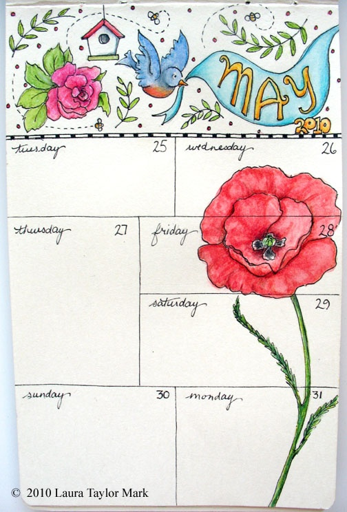 If I don't do something like this, I'll never sit down to do daily entries!Art Journe Planners, Journals Calendar, Calendar Journals, Art Journals, Journals Ideas, Filofax Doodles, Pretty Flower, Diy Planners, Art Planners