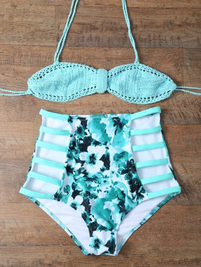 High Waisted Printed Cut Out Bikini Set | Psychedelic Monk