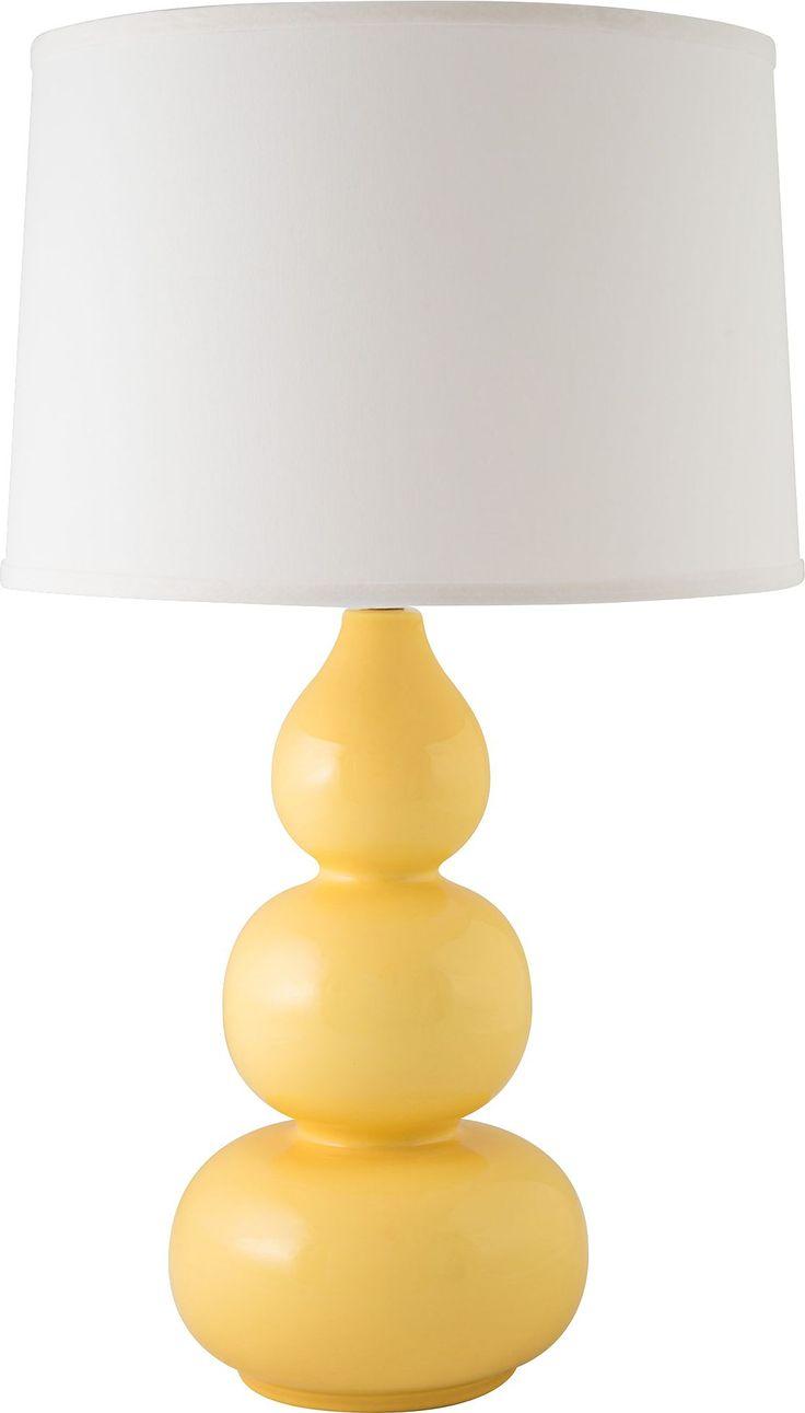 RiverCeramic Triple Gourd Gloss Straw Yellow Table Lamp - #EU13V53 - Euro Style Lighting