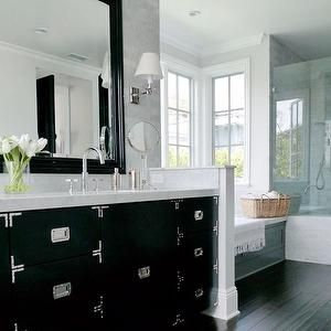 Dark wood floors in bathroom