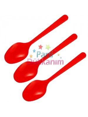 Kırmızı Plastik Kaşık Lüks (25 adet)