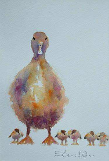 Chatty Chicks - Elisabeth Carolan Art - Artist in watercolour, acrylic and mixed media - Woking Surrey