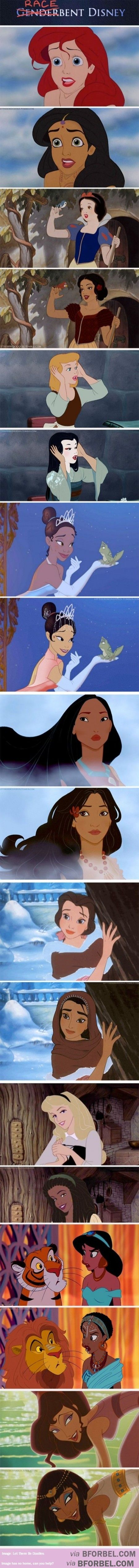 9 Disney Princesses Now Of Different Colors…