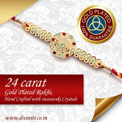 24ct Gold Plated Rakhi with Hand Crafted with Swarvoski Crystals visit at http://www.divinti.co.in