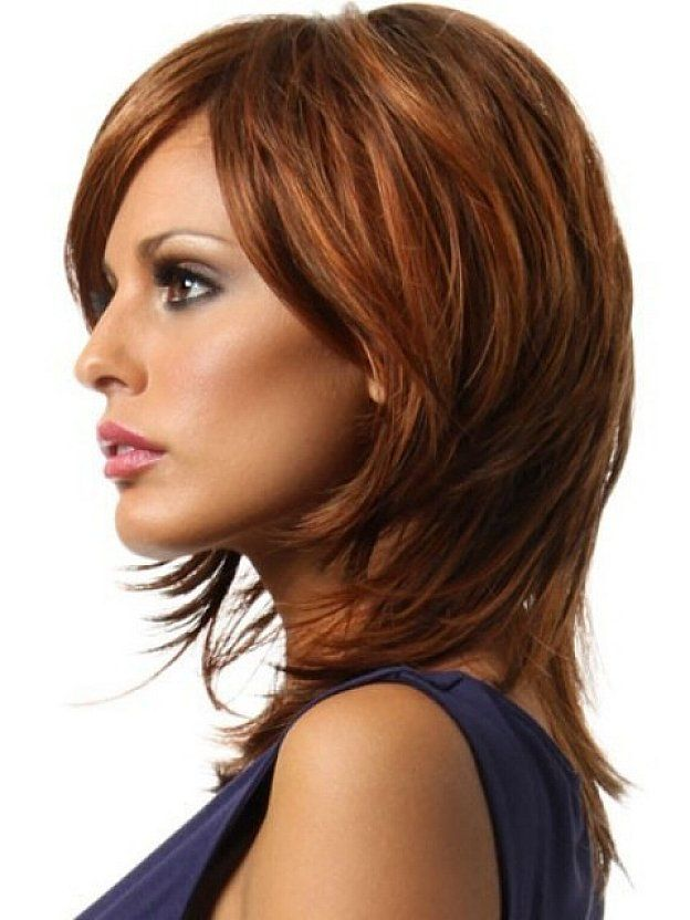 Shaggy striking brown hairstyles with side bangs for medium hair