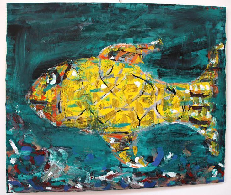 """""""Nel segno dei pesci"""" - olio su tela - Mari Guglielmo - 1985"""