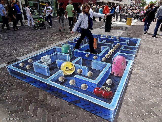 3d street art pacman by leon keer, via Flickr