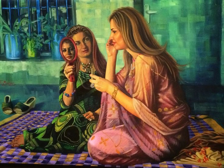 Kurdish girls painting by artist Twana Marjan