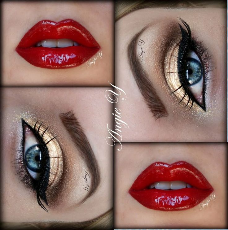 Gold eyeshadow with black eyeliner and red lipstick. gorgeous combo for a dramatic look