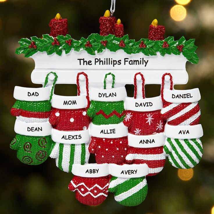 *New*–Mitten Family Ornament  Choose from 2-12 mittens with any name, up to 9 characters, and any message on 1 line, up to 18 characters. http://kittykatkoutique.com/all-new-personalized-christmas-ornaments-2015/