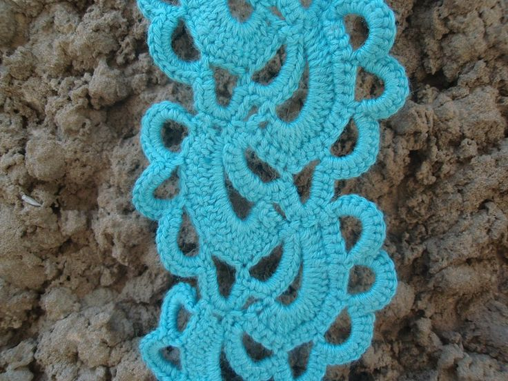 Scarf «Blu lace».This pattern is good for beginners to make something really beautiful and something that can be used in daily life.