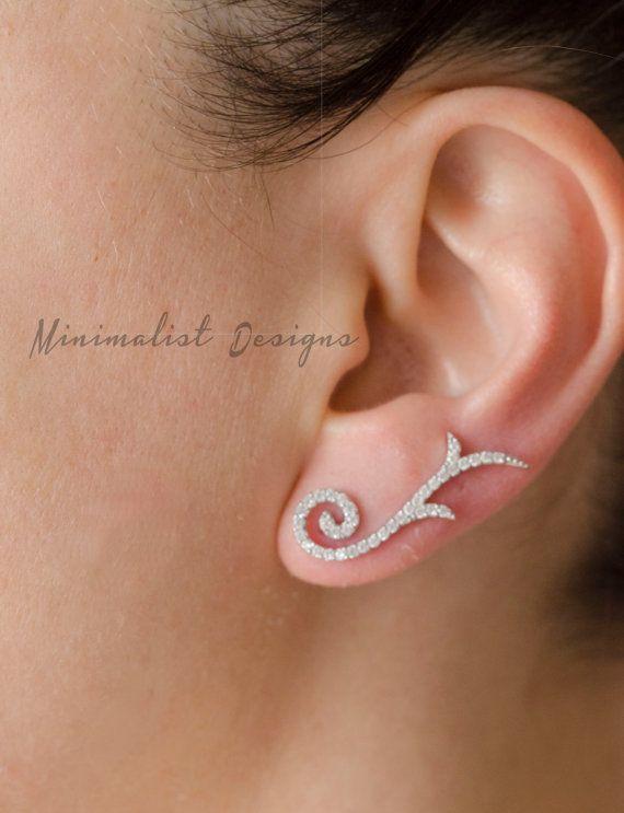 Ear Jacket Sterling silver Two Ear jackets by MinimalistDesigns