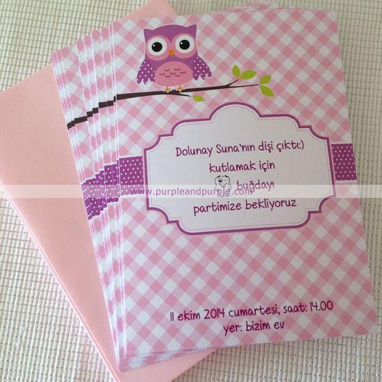Dolunay Suna'nın baykuş temalı diş buğdayı davetiyesi ve teşekkür kartları