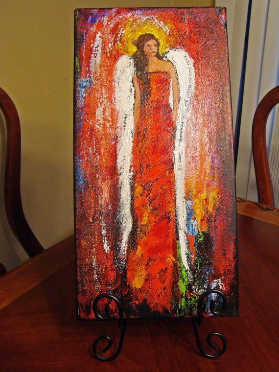 Angel Painting Scripture Art Perfect Gift Original by Florinda,
