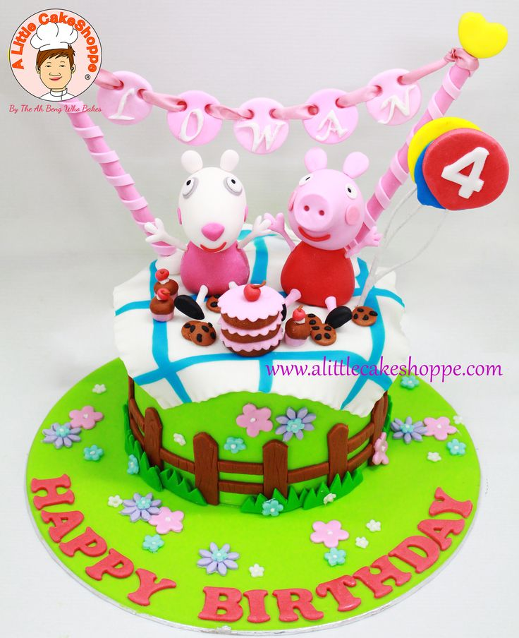Peppa Pig cake from A Little CakeShoppe Singapore. Figurines handmade in sugar.