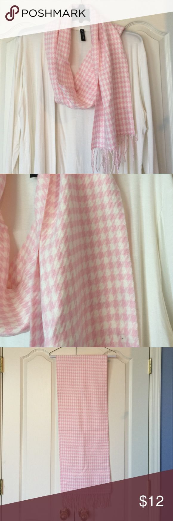 NWOT   Pink and ivory houndstooth scarf Pink and ivory houndstooth scarf. Fabric content and laundry care shown in picture 4. Italy design Accessories Scarves & Wraps