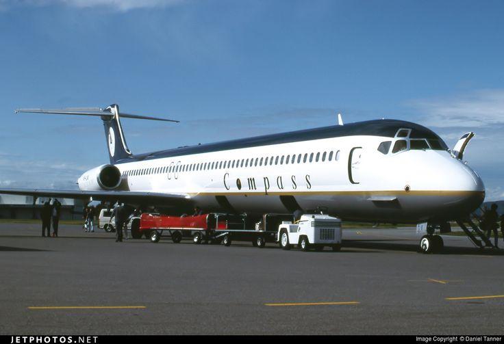 Compass Airlines McDonnell Douglas MD-83 VH-LNI at Adelaide-International, September 1992. (Photo: Daniel Tanner)