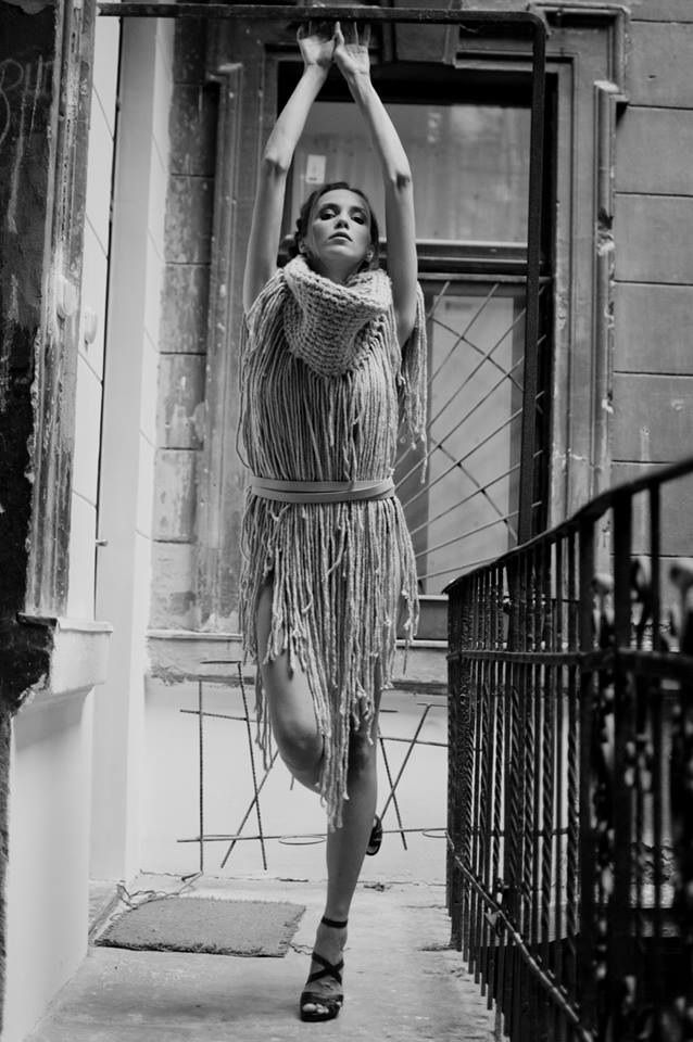 Collection of woolen women's clothing by Jana Mikešová  #wool #fashion #macrame #dress #big #scarf #janamikesova #shooting #photo #budapest https://www.facebook.com/JanaMikesovaFashionDesigner