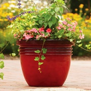 2 Better Homes and Gardens 24'' Bombay Planter, Red Sedona for the front porch.: Flowers Pots, Decor Planters, Gardens Bombay, Front Doors, Red Sedona, Bombay Planters, Accent Colors, Better Home Red Planters,  Flowerpot