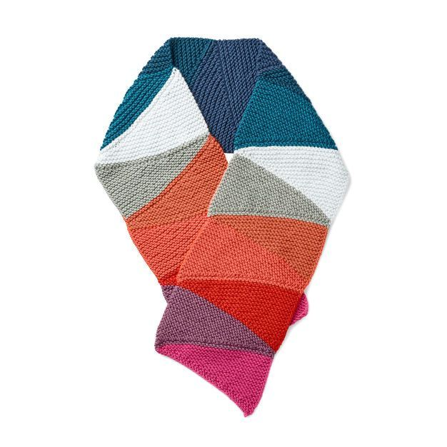 eee64415 Free Knit Scarf Pattern | Caron x Pantone See-Saw Knit Scarf | This wide  garter stitch knit scarf uses two braids of Caron x Pantone in tonal colors  that ...