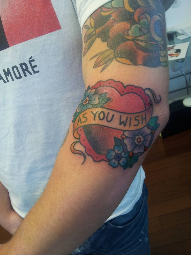 Princess Bride 'As You Wish' heart by Chantel apprenticing at Mimsy's Trailer Trash Tattoos; Brisbane, Australia.
