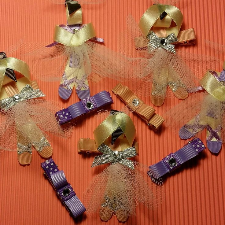 girls beautiful ballerina hair clip set  alligator clips by 4yourbeautifulangel on Etsy