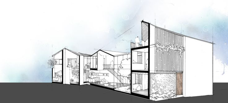 3 Houses, Ho Chi Minh City, Sectional Perspective, AD+studio