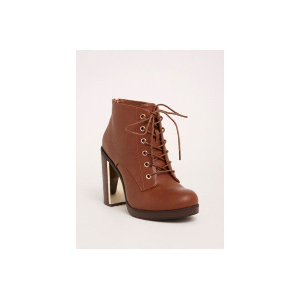 Torrid Wide Metal Heel Lace Up Booties - Wide Width ($37) ❤ liked on Polyvore featuring shoes, boots, ankle booties, booties, heeled booties, lace up high heel boots, lace up chunky heel booties, laced up ankle boots, wide ankle boots and chunky heel bootie