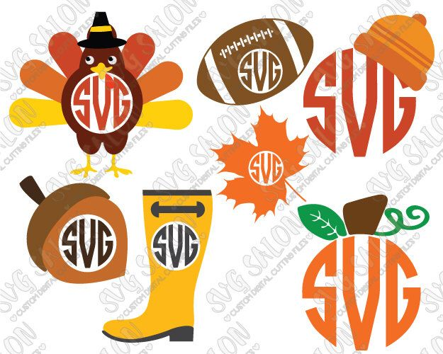 Thanksgiving Autumn / Fall Monogram Cutting File / Clipart in Svg Eps Dxf Png Jpeg Cricut & Silhouette: Turkey Acorn Leaf Pumpkin Hat Boot by SVGSalon on Etsy https://www.etsy.com/listing/253033498/thanksgiving-autumn-fall-monogram