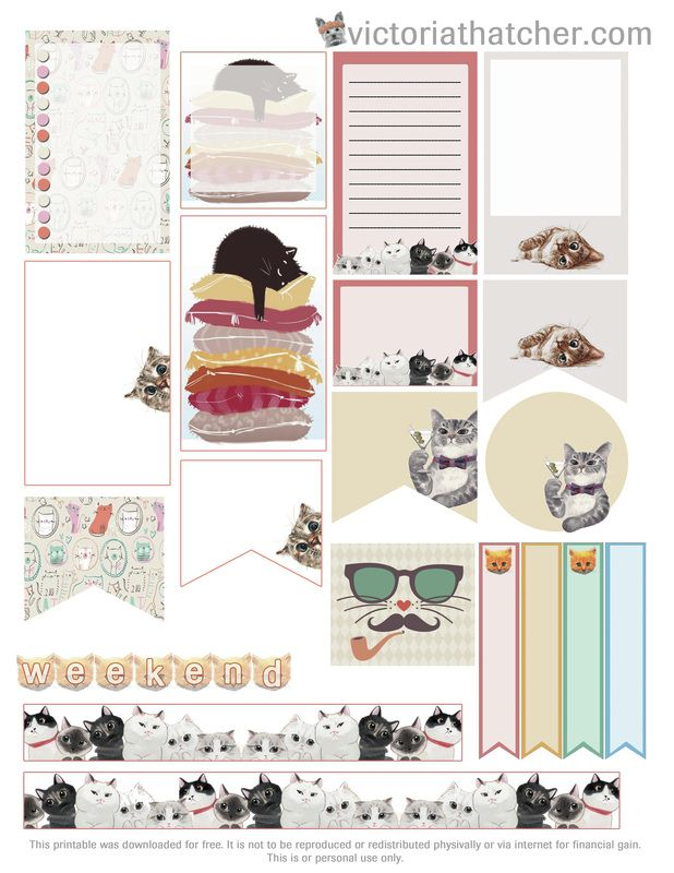 FREE Cats Planner Printable by Victoria Thatcher                                                                                                                                                     Más